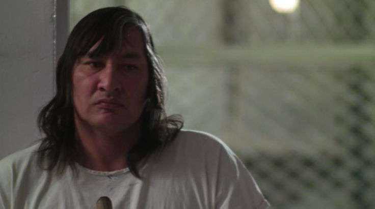"Will Sampson interpreta Chief Bromden nel film capolavoro di Forman ""Qualcuno volò sul nido del cuculo""."