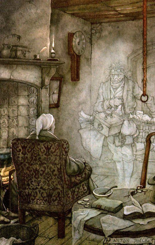 Scrooge incontra il fantasma di Marley. Illustrazione di Anton Pieck.