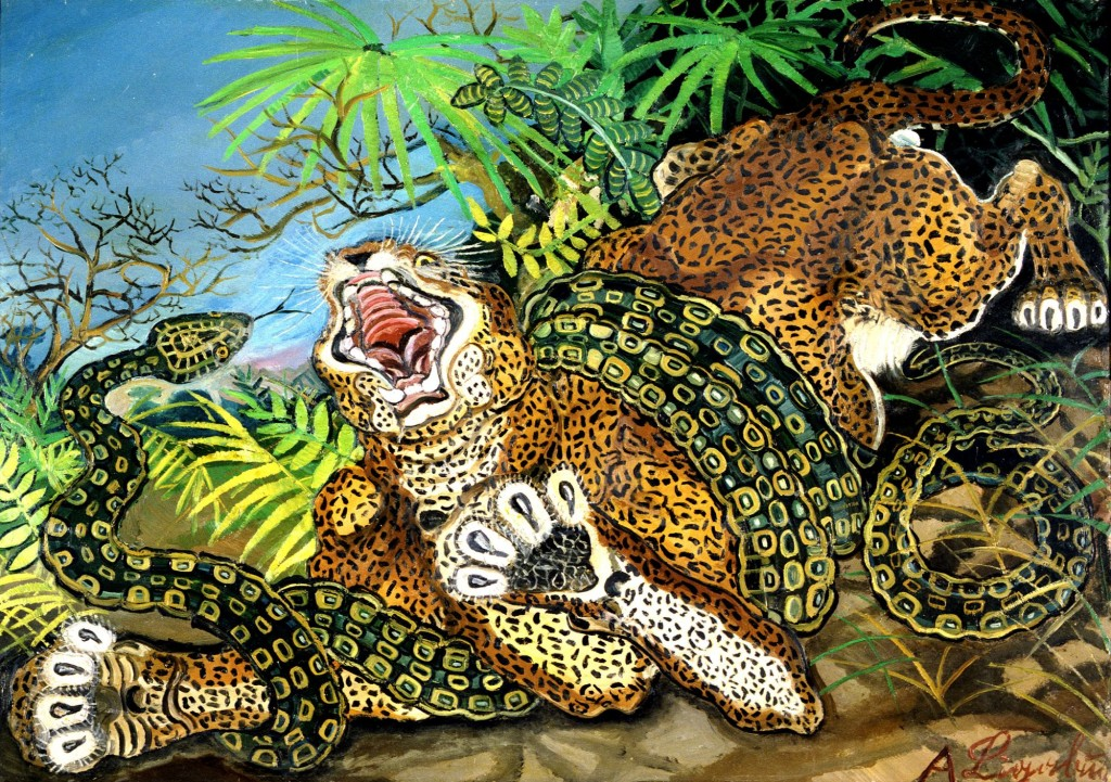 """Leopardo assalito da un serpente"""
