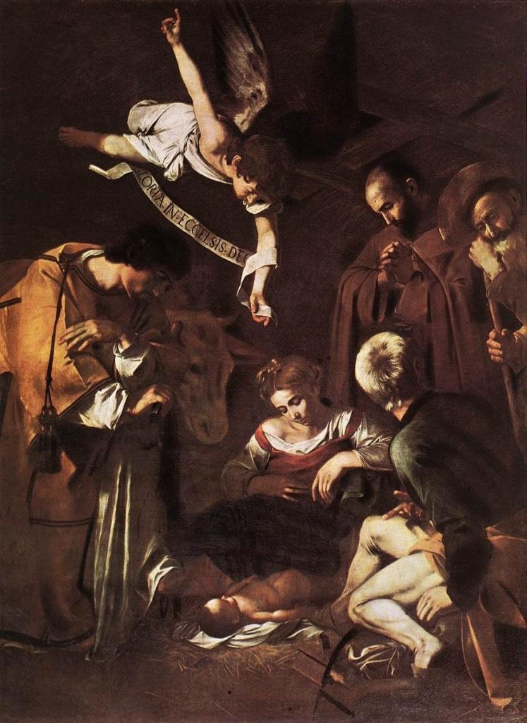 """""""Natività con i Santi Lorenzo e Francesco d'Assisi"""". La Natività umile del Caravaggio."""