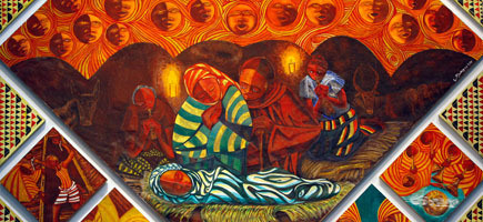 Fr. Engelbert Mveng, Nativity, early 1990s. Central scene from church mural. Holy Angels Church, Aurora, Illinois.