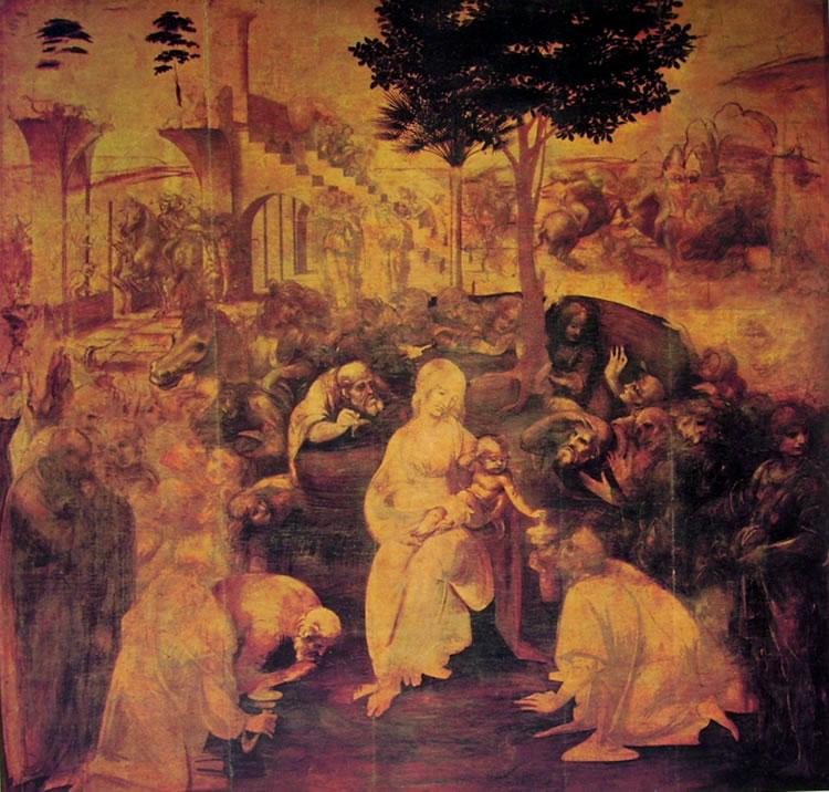 """""""L'adorazione dei Magi"""", dipinto incompiuto di Leonardo da Vinci"""