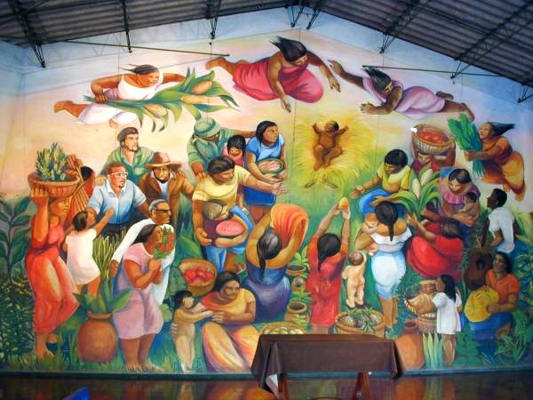 Nativity mural at Batahola Norte Community Center, Managua, Nicaragua.