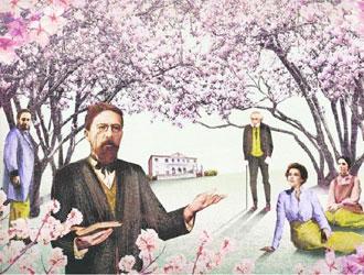 Illustrazione di ALE + ALE per «Tuttolibri» ispirata al «Giardino dei ciliegi» di Anton Cechov.