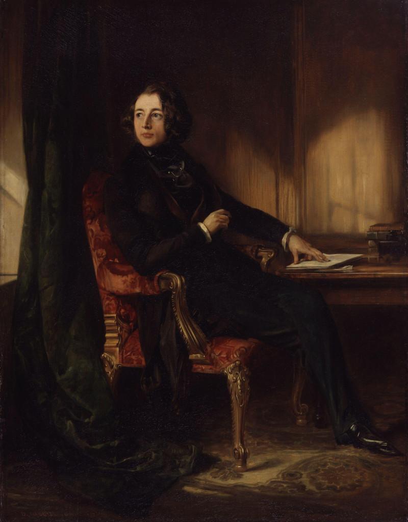 Il giovane Dickens nel ritratto di Daniel Maclise (1839).