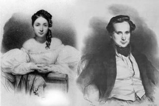 Juliette Drouet e Victor Hugo. Litografia di Léon Noël. (Le Monde)