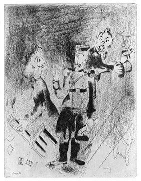 Marc Chagall, Le anime morte di Gogol', Apparizione del poliziotto.