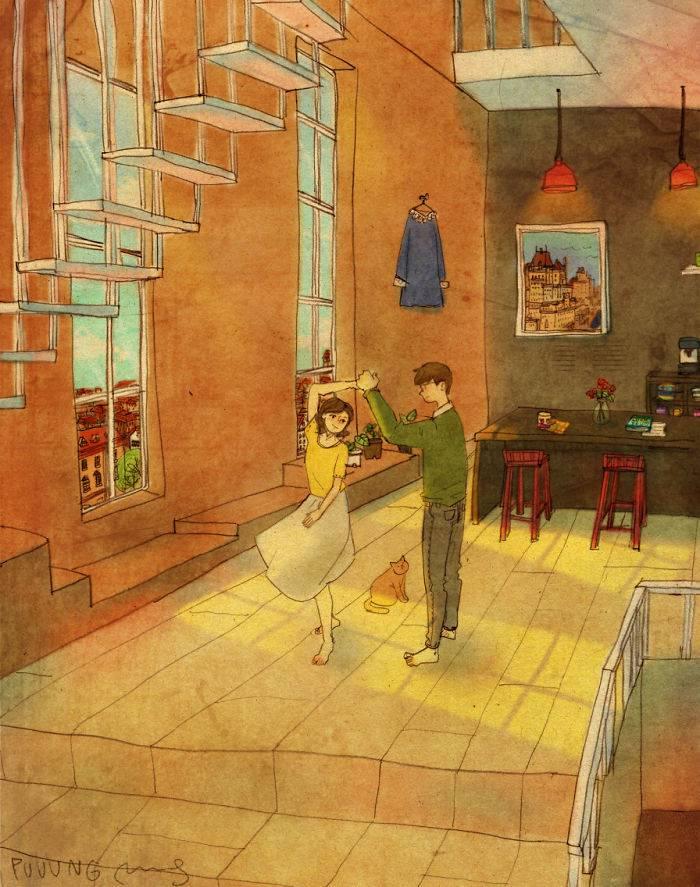 L'amore silenzioso nei disegni di Puuung