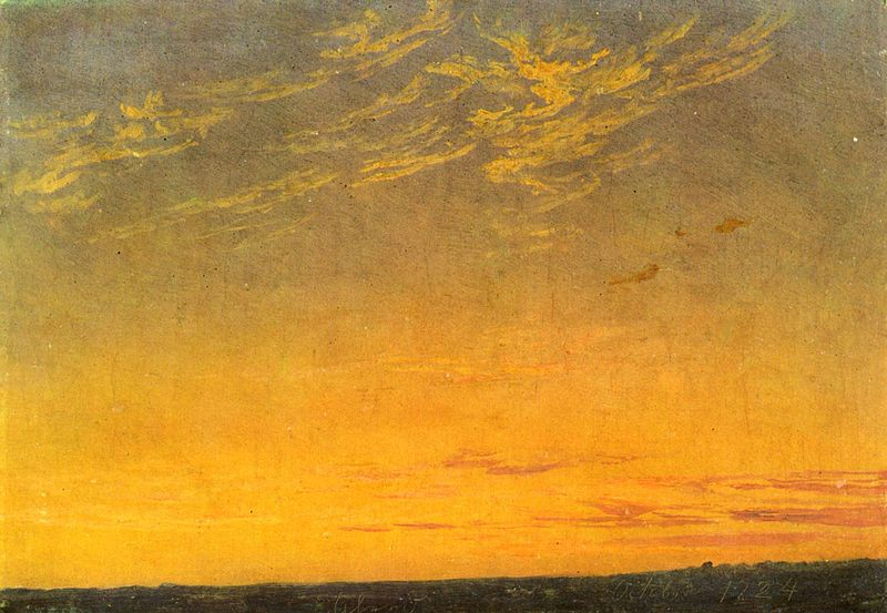 """Caspar David Friedrich, """"Sera con nuvole"""" (Abend mit Wolken, 1824), Mannheim, Kunsthalle."""