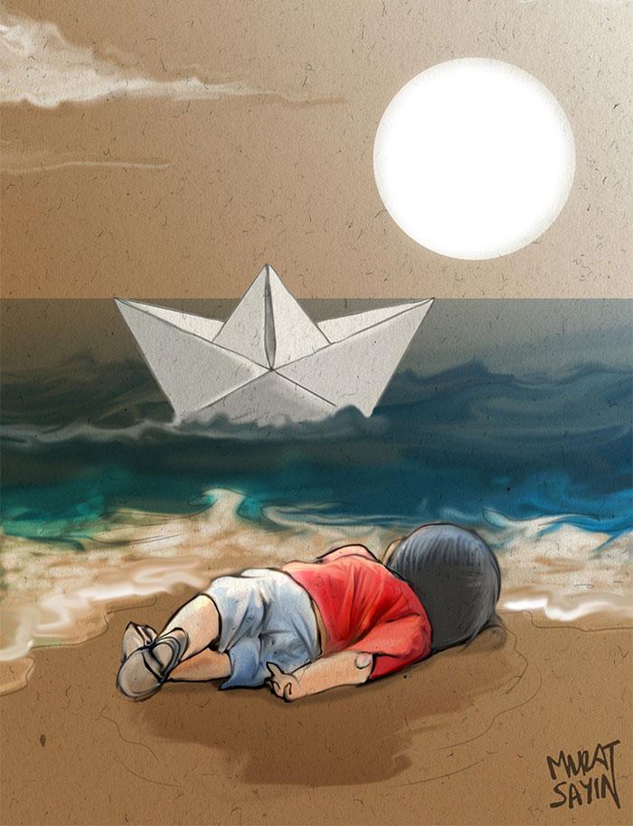 La tragedia di Aylan Kurdi attraverso le opere di artisti di tutto il mondo