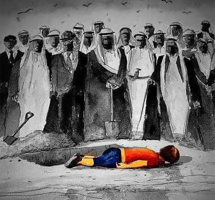 La triste vicenda di Aylan Kurdi, il bimbo siriano annegato, interpretata dagli artisti