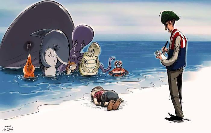 La tragedia del piccolo profugo siriano raccontata dagli artisti