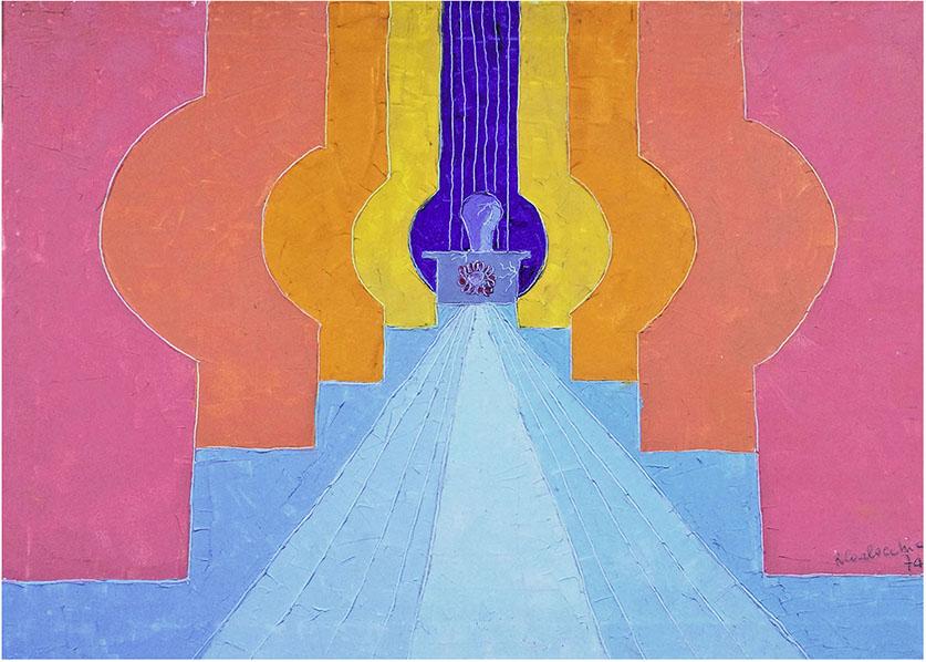 """Monumento all'eroe"" (1974), spatolato ad olio su tela70x50."
