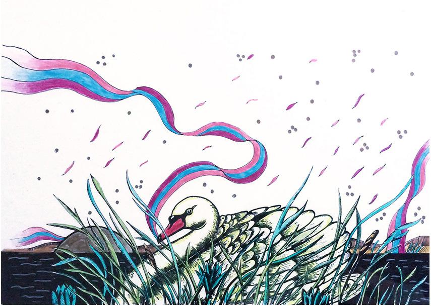 """""""Il cigno"""" (1985), serigrafia retouché 30x20"""