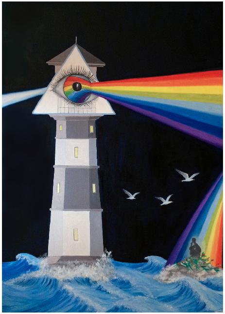 """""""La luce faro della vita"""", (2015) olio su telao 50x70."""