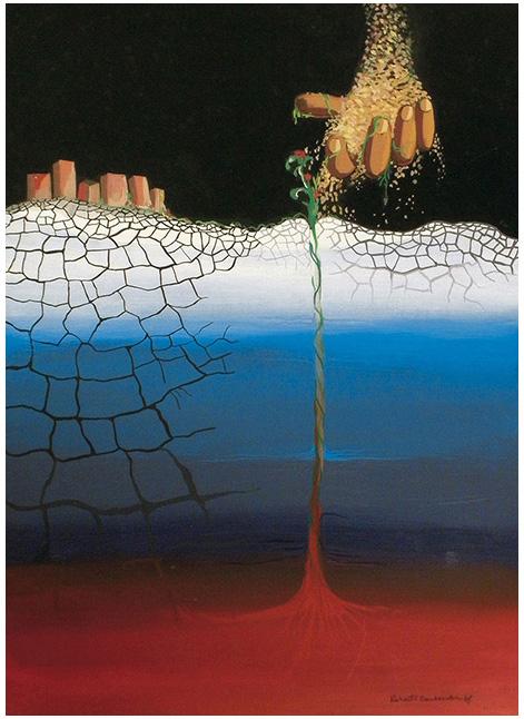 """""""Seminando"""" (1978) acrilico su cartoncino nero 34x48. Opera premiata a Milano al concorso internazionale A.U.P.I. Sez. Pittura."""