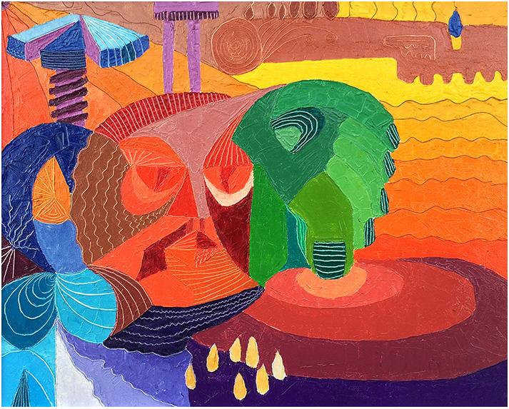 """Buco nell'acqua"" (1974), olio su tela 50x40."