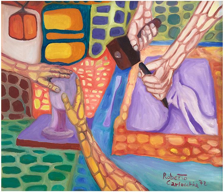"""""""Scultori al lavoro"""" (1972), olio su tela 70x60."""