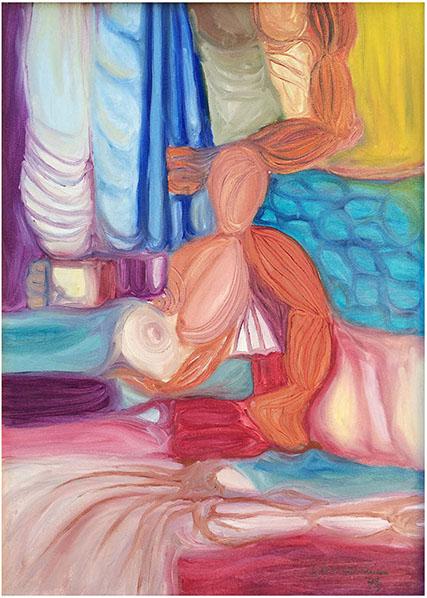 """""""Nudi informali"""" (1975), olio su tela 50x70."""