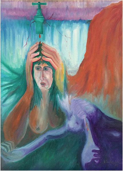 """""""Stillicidio"""" (1974), olio su tela 50x70."""