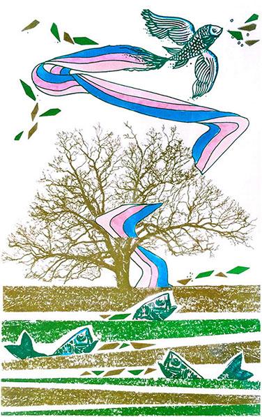 """Pesci On Air"" (1987), serigrafia retouché 20x30."