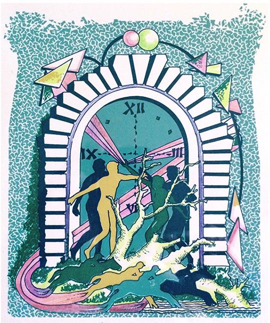 """""""In tempo"""" (1991), serigrafia retouché 20x30."""