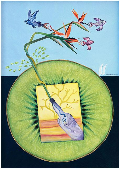 """Kiwi Succo-InsideOut"" (2015), olio su tela 50x70."