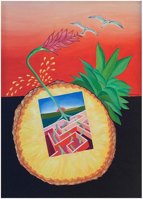 """Ananas Succo-InsideOut"" (2015), olio su tela 50x70."