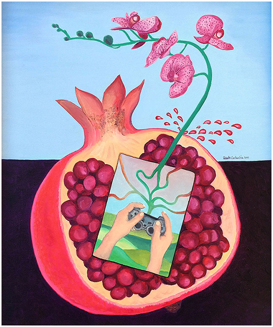 """""""Melograno Succo-InsideOut"""" (2015), olio su tela 50x60."""