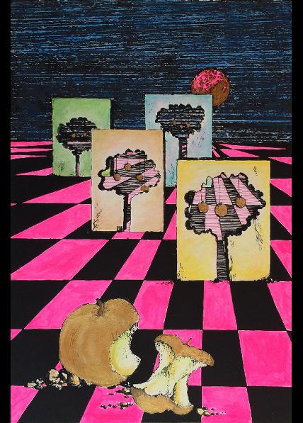 """""""Il nuovo Eden?"""" (1980), serigrafia retouché 25x35."""