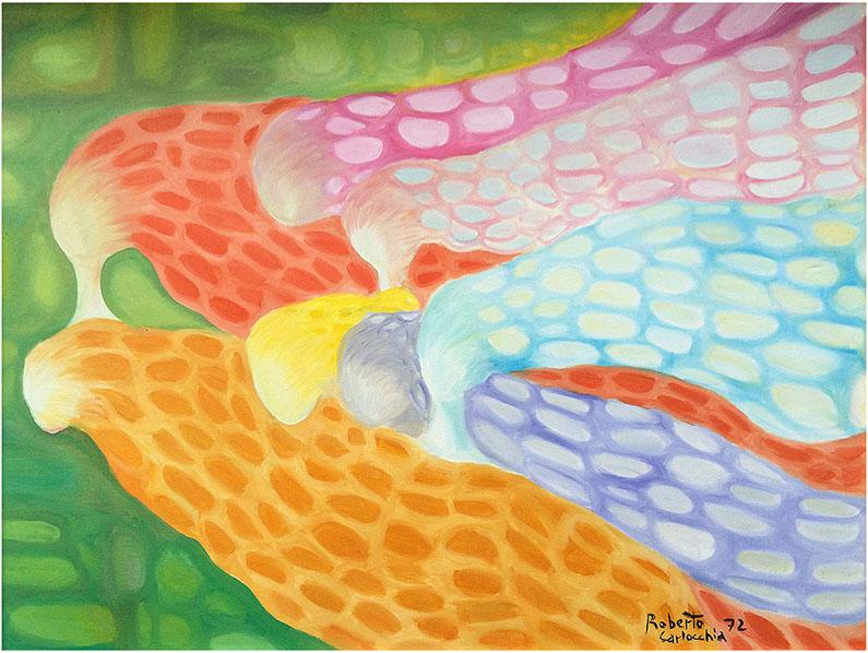 """Psico-Angeli"" (1972) olio su tela 80x60."