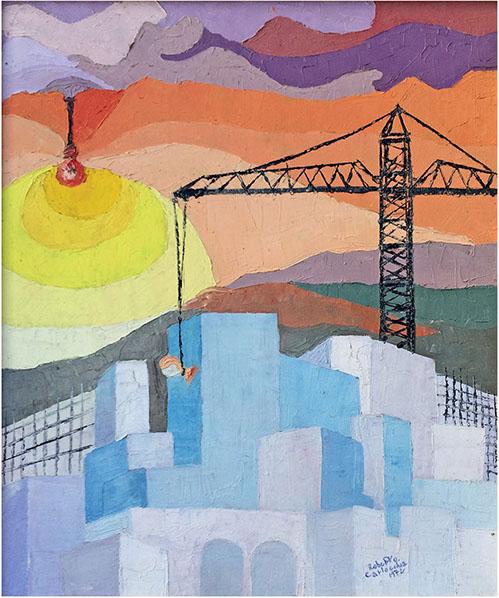 """""""Speculazione edilizia"""" (1972) spatolato ad olio su tela 50x60."""