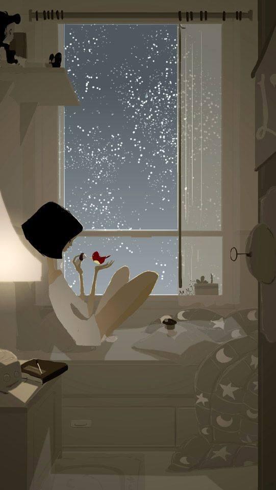Vorrei che tu venissi da me in una sera d'inverno e, stretti insieme dietro i vetri, guardando la solitudine delle strade buie e gelate, ricordassimo gli inverni delle favole, dove si visse insieme senza saperlo... _ Dino Buzzati _ (Disegno di Pascal Campion)