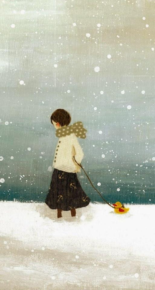"""Quando uscite, copritevi bene. Ci sono persone fredde, là fuori."""" (cit.) Dipinto di Tashika Yui"""