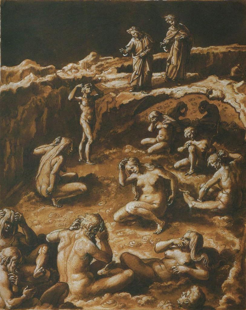 Gli adulatori, illustrazione di Giovanni Stradano (1587) Inferno - Canto XVIII