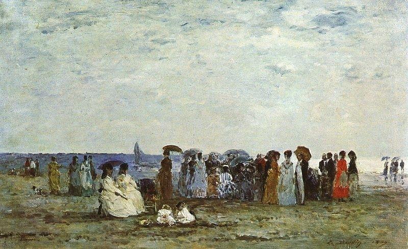 """""""Sulla spiaggia a Trouville"""", Eugène Boudin, 1860"""