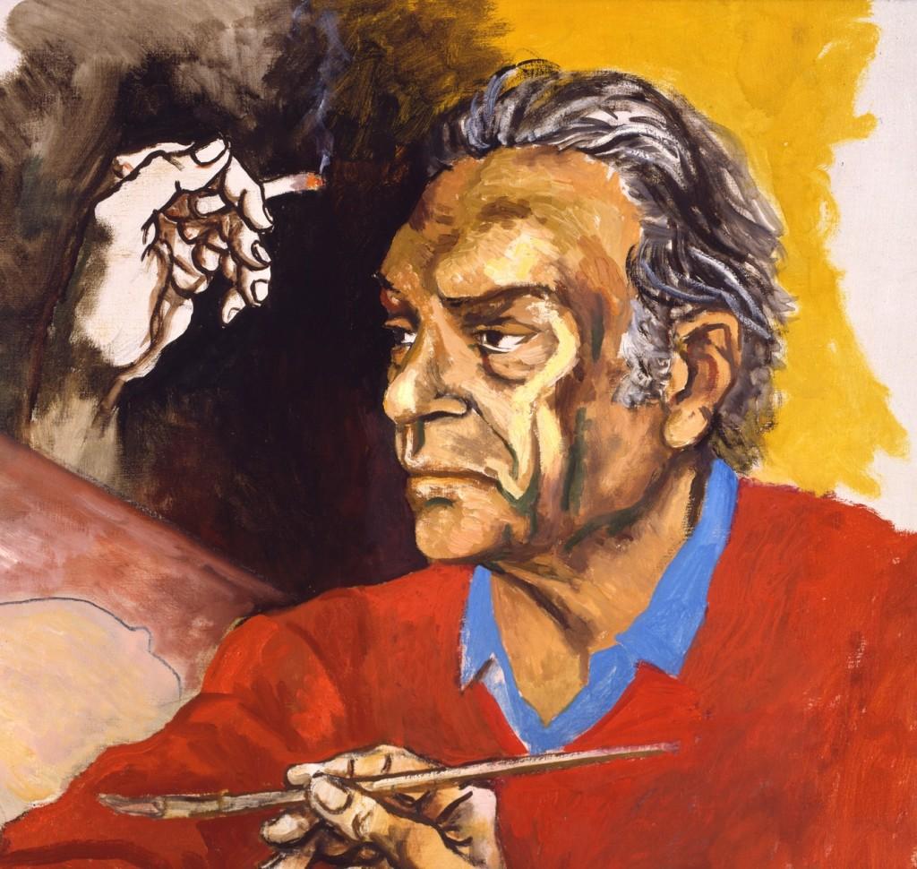 """Renato Guttuso, Ritratto di Moravia, 1982, olio su tela, cm 122 x 95 Casa Museo """"Alberto Moravia"""", Roma"""