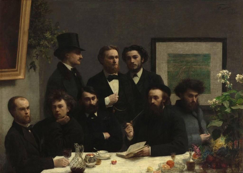 "Da sinistra, seduti: Paul Verlaine, Arthur Rimbaud, Léon Valade, Ernest d'Hervilly e Camille Pelletan. In piedi: Elzéar Bonnier, Emile Blémont e Jean Aicard. ""Coin de table"" di Henri Fantin-Latour"