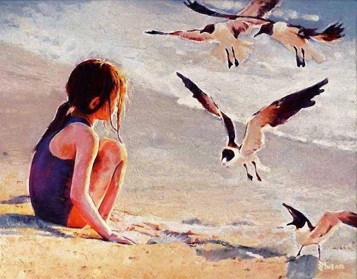 Non so dove i gabbiani abbiano il nido, ove trovino pace. Io son come loro in perpetuo volo. La vita la sfioro com'essi l'acqua ad acciuffare il cibo. E come forse anch'essi amo la quiete, la gran quiete marina, ma il mio destino è vivere balenando in burrasca. Vincenzo Cardarelli Dipinto di Alexey Slusar