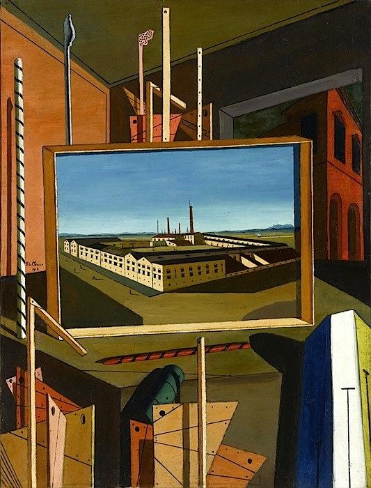 """""""Interno metafisico (con grande officina)"""", 1916 Olio su tela, cm 96,3 x 73,8 Stoccarda, Staatsgalerie."""