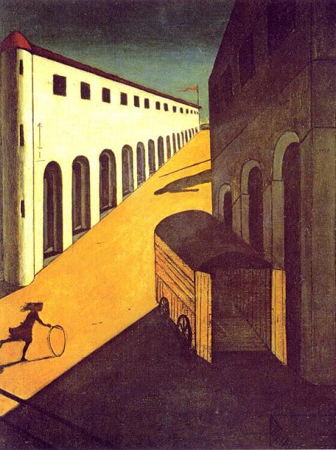 """""""Mistero e malinconia di una strada"""", 1914, olio su tela. Collezione Resor, New Canaan ( USA)."""