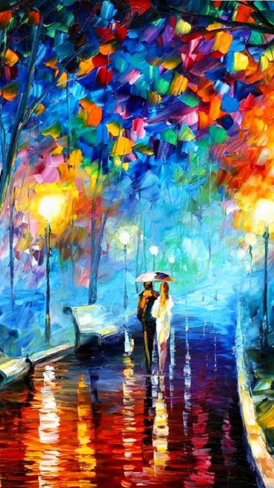 """I grandi amori sono sempre in cammino. Alda Merini """"Lovers"""" by Leonid Afremov"""