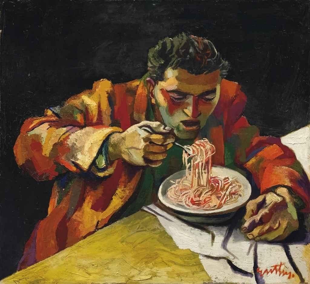 """""""Uomo che mangia gli spaghetti"""", 1956."""