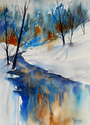 """Blue Reflections"" - watercolor by Martha Kisling."