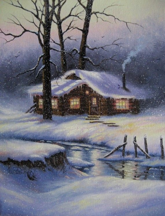 Snowy Cabin, Original Oil Painting by VickieWadeFineArt