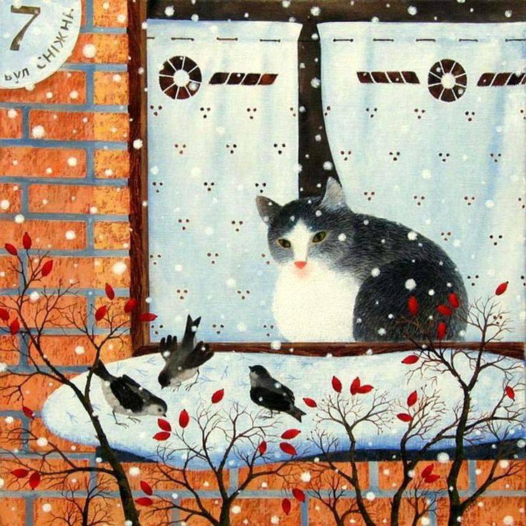 """Il momento in cui si sveglia al mattino è il più bello delle ventiquattro ore. Non importa quanto stanco o triste ci si possa sentire, si possiede la certezza che, durante il giorno che si trova davanti a voi, qualsiasi cosa può accadere. E il fatto che non sia sempre così, non importa un bel niente. La possibilità è sempre lì. Monica Baldwin """"Cat in the window"""" dipinto di Olga Kvasha"""