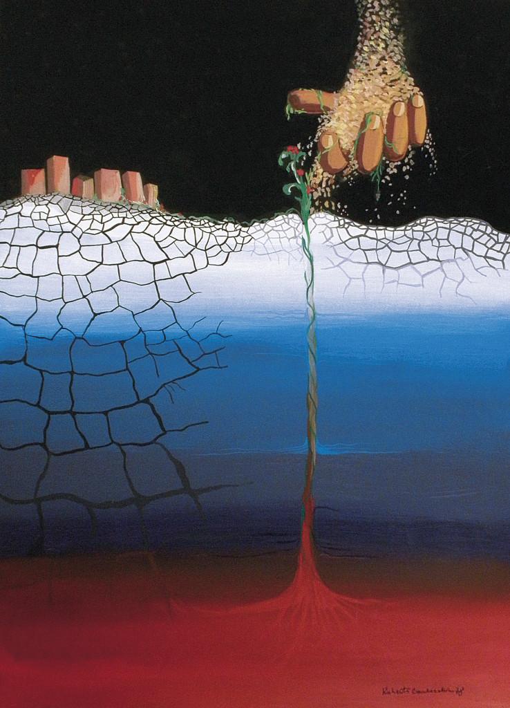 """""""Seminando"""" di Roberto Carlocchia. Pittura acrilica su cartoncino cm. 35x46 (1978) """"Il seme come manna dal cielo fa rigermogliare il fiore dalle viscere infuocate del globo terrestre. Simbolo di rinascita e di una nuova vitalità in un mondo che, inizia a sgretolarsi e a disfarsi lentamente."""" L'opera """"Seminando"""", inserita anche nel catalogo della mostra, è stata commentata con questa bella frase di Khalil Gibran: """"L'amore è una parola di luce, scritta da una mano di luce, su una pagina di luce."""""""