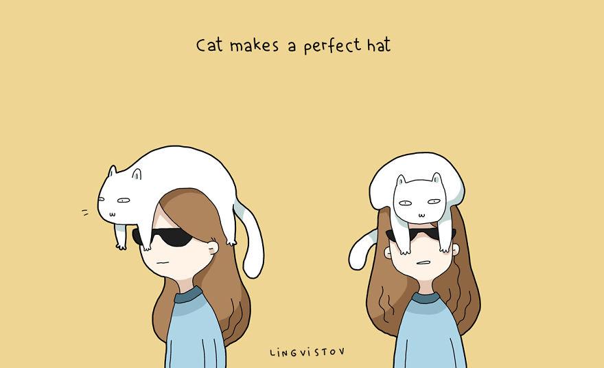 """""""Il gatto si trasforma in un cappello perfetto."""""""