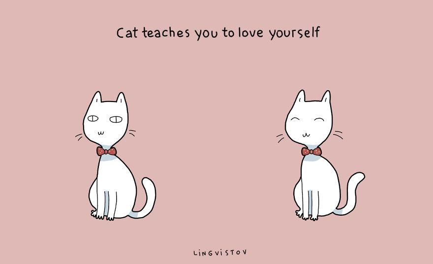 """""""Il gatto t'insegna ad amare te stesso."""""""