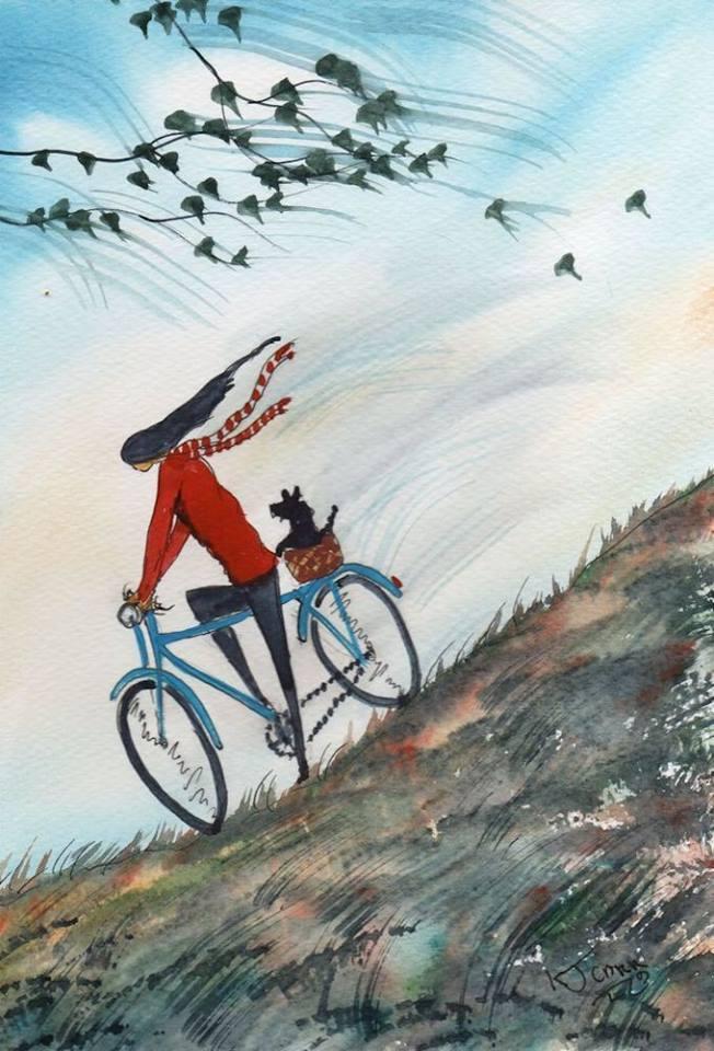 La vita si rimpicciolisce e si ingrandisce in proporzione al proprio coraggio. _ Anaïs Nin _ Girl On A Bike ~ by K.J. Carr